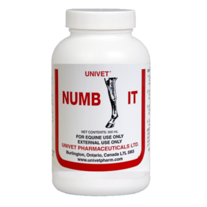 Univet numb-it topical products for equine use and improved performance for horses