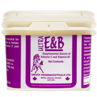 Univet Ultra-E&B supplemental source of vitamin e and b1products for equine use and improved performance for horses