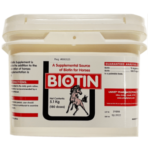 Univet biotin supplement products for equine use and improved performance for horses