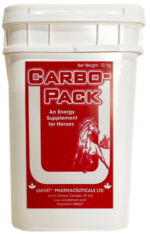 Univet carbo-pack energy supplement for equine use and improved performance for horses