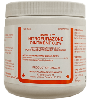 Univet nitrofurazone ointment 0.2% for equine use and improved performance for horses