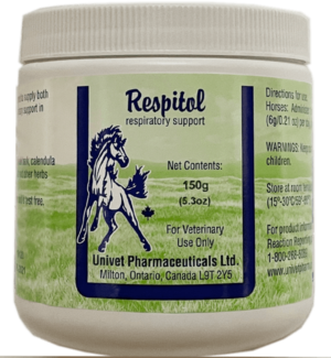 Univet respitol respiratory products for equine use and improved performance for horses